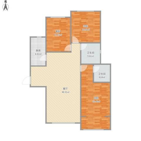 新世纪花园3室1厅2卫1厨137.00㎡户型图