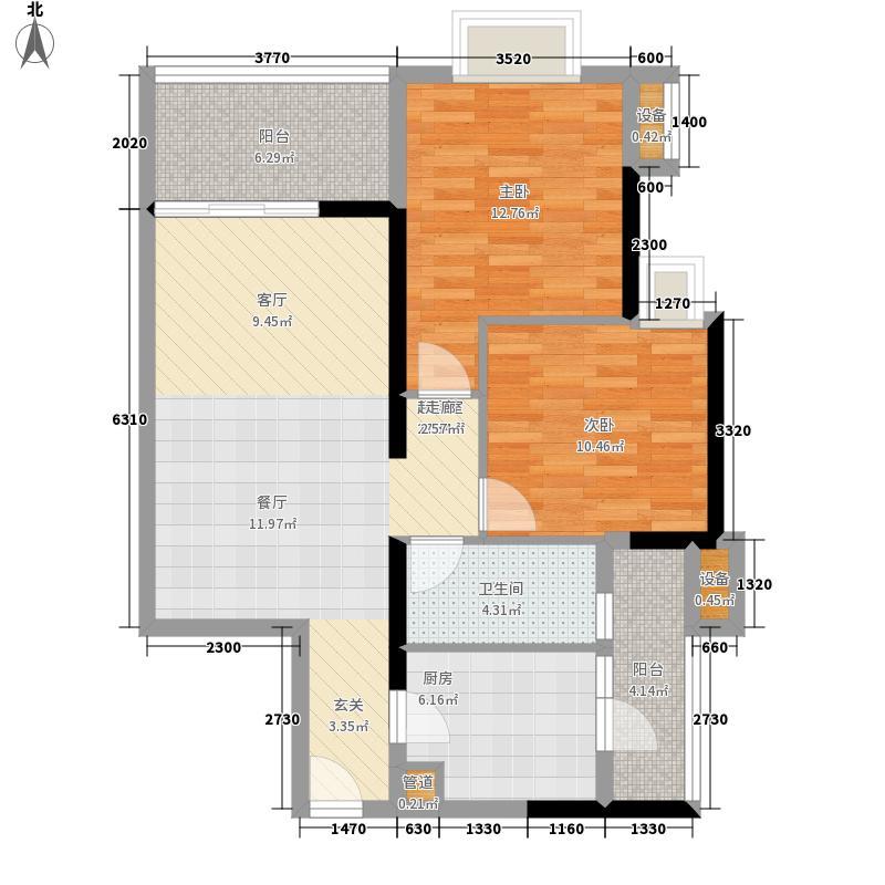 富力金禧花园84.00㎡A2栋06单元面积8400m户型