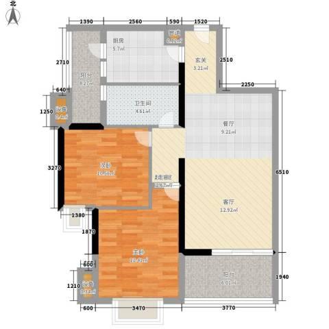 富力金禧花园2室0厅1卫1厨84.00㎡户型图