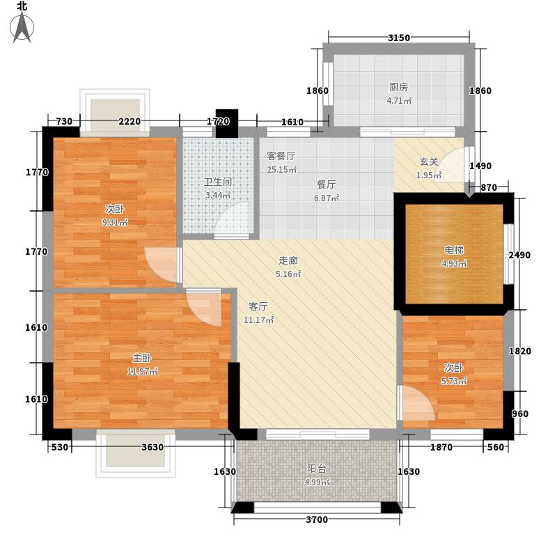 莲花湾畔84.57㎡6梯2号房面积8457m户型
