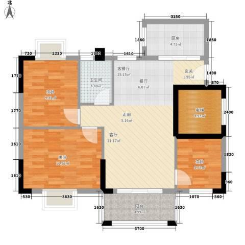 莲花湾畔3室1厅1卫1厨85.00㎡户型图