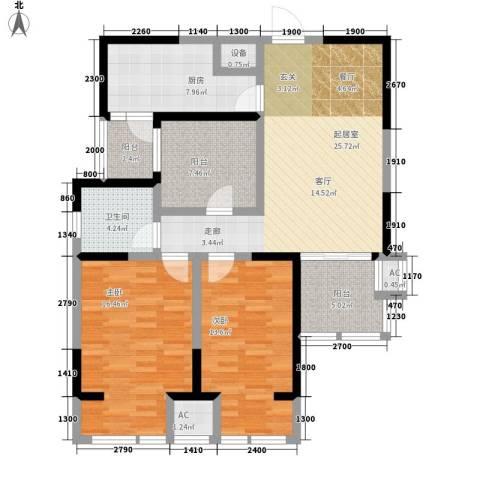 鼎正中央领郡2室0厅1卫1厨112.00㎡户型图