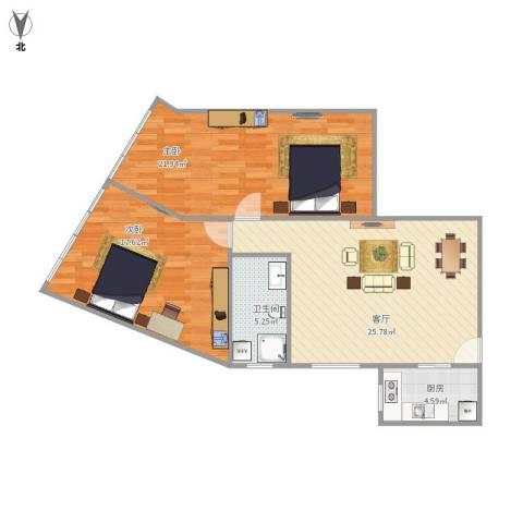 景苑公寓(萧山)2室1厅1卫1厨100.00㎡户型图