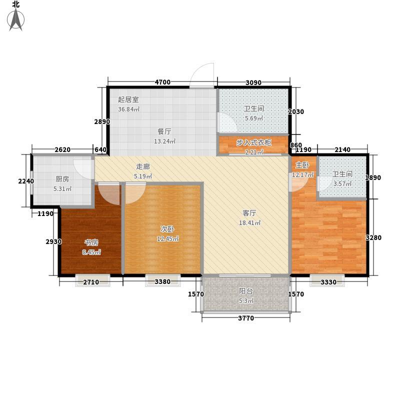 安盛花苑125.44㎡安盛花园B户型3室2厅