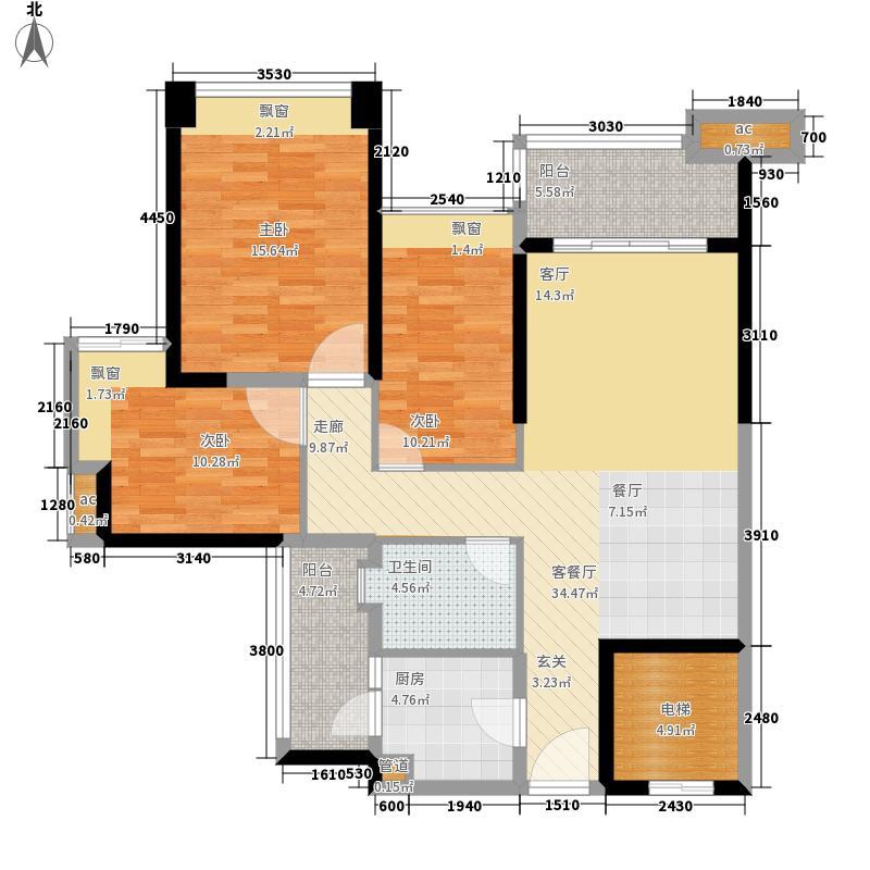 雅居乐山海间102.00㎡C2户型3室2厅