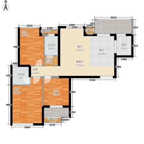 高新锦绣苑3室1厅2卫1厨141.00㎡户型图