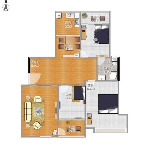 千玺广场3室2厅1卫1厨132.00㎡户型图