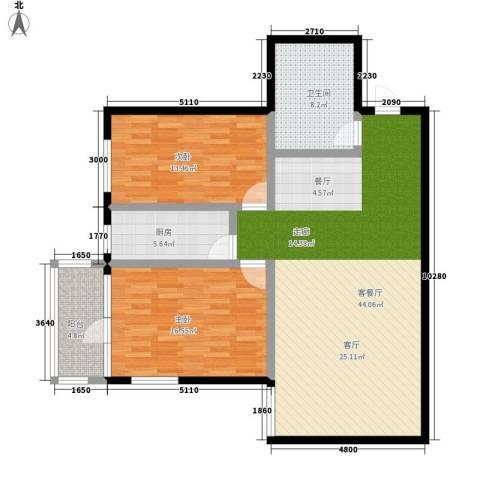 翰林雅居2室1厅1卫1厨109.00㎡户型图