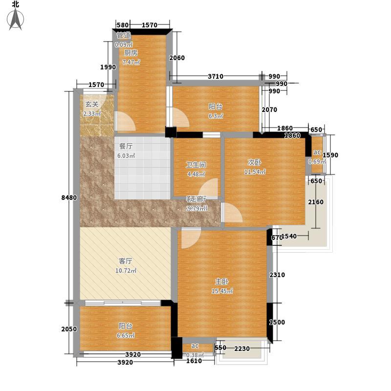 翡翠绿洲92.00㎡凡尔塞庄园T型4栋顶层01单位户型2室2厅