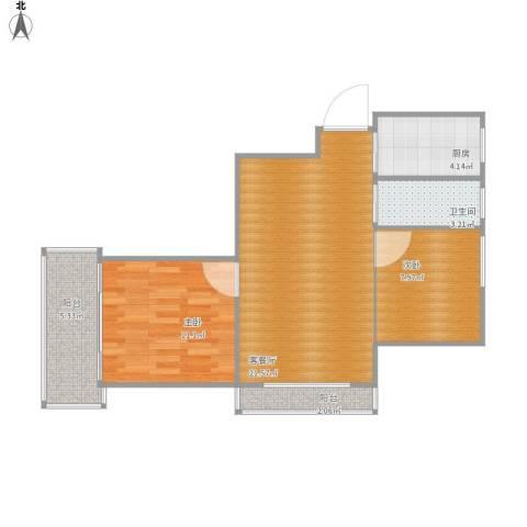 汇嘉新园2室1厅1卫1厨59.91㎡户型图