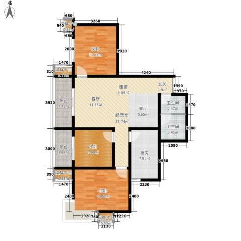 上洋国际3室0厅2卫1厨116.00㎡户型图