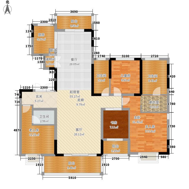 万科白沙润园165.00㎡一期电梯洋房5幢1单元601室套内面积1户型4室3厅