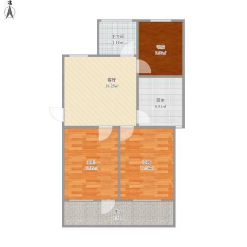 机电公司宿舍3室1厅1卫1厨92.00㎡户型图