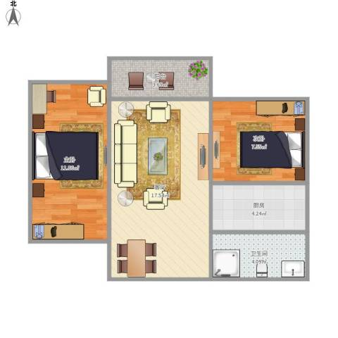 广信晖景大厦2室1厅1卫1厨53.23㎡户型图
