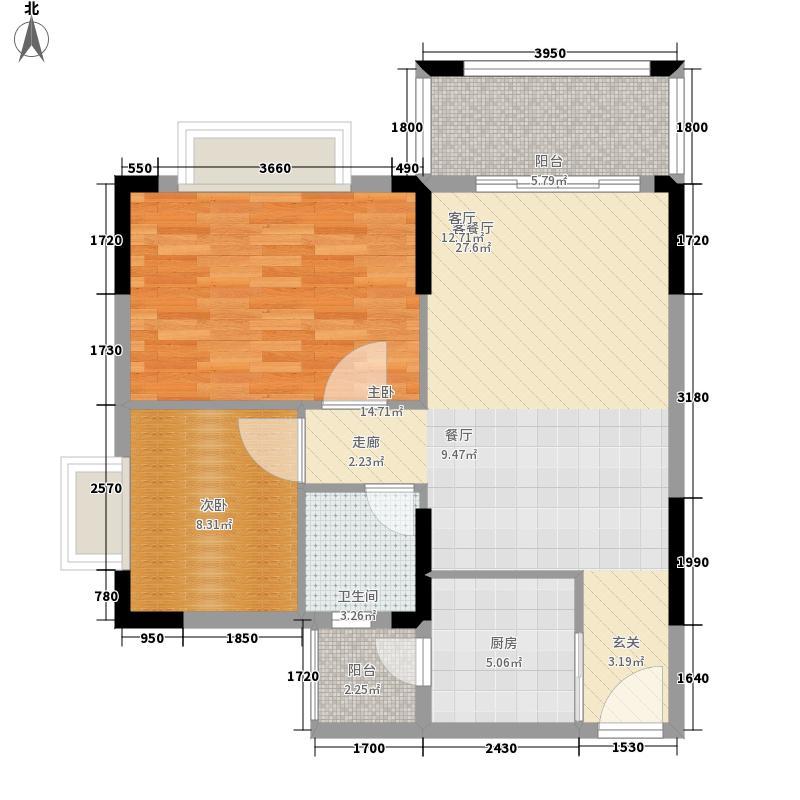 莲花湾畔75.76㎡2梯2号房面积7576m户型