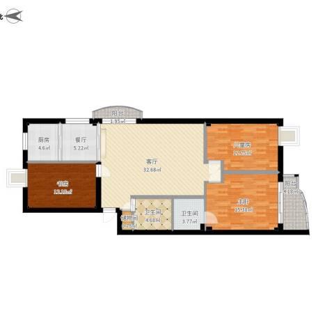 鹦鹉花园(五期)3室2厅2卫1厨142.00㎡户型图