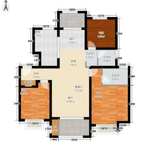 海亮・院里3室1厅2卫1厨113.00㎡户型图