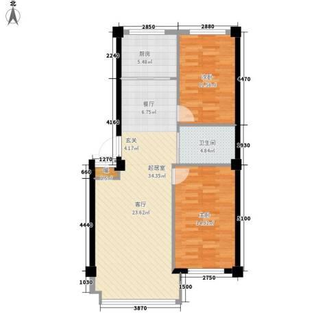 金地祥林书香苑2室0厅1卫1厨98.00㎡户型图