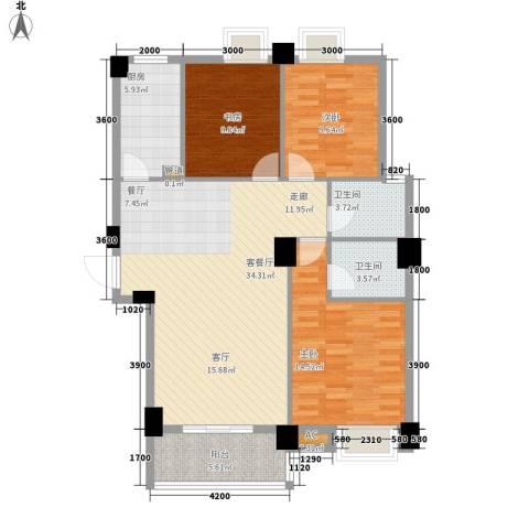 硚口金利屋3室1厅2卫1厨126.00㎡户型图
