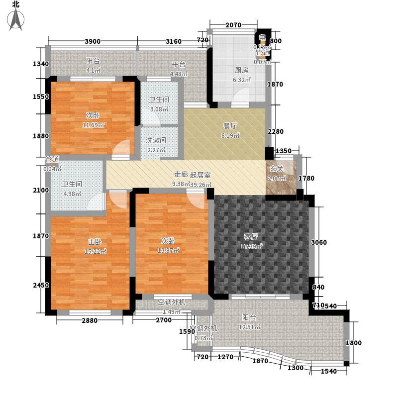 永隆城市广场128.00㎡一期融景湾高层标准层E-62户型