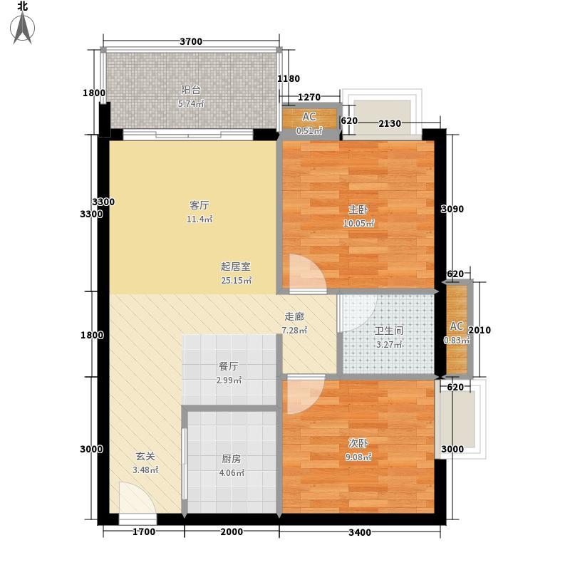 得发·江语星城73.96㎡B3栋C户型2室2厅