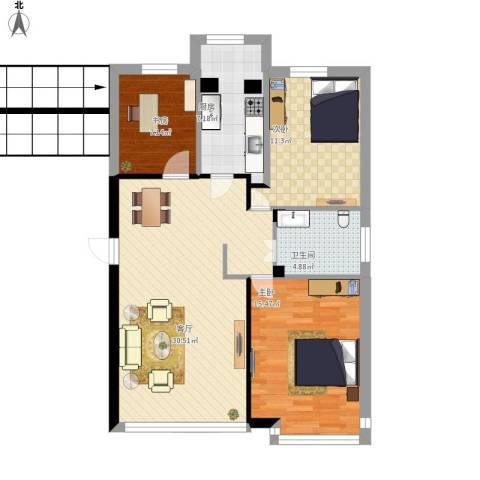 未来城3室1厅1卫1厨108.00㎡户型图