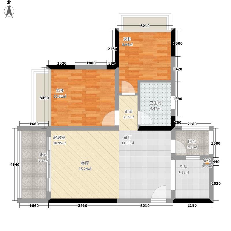 星誉花园77.48㎡1栋二至十八层03单位户型2室2厅