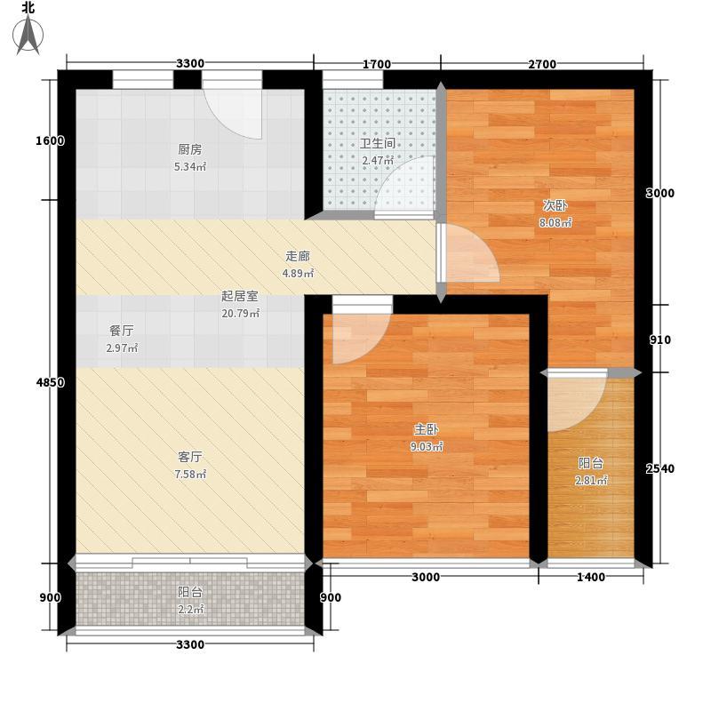 孔雀城52.00㎡B户型2室1厅