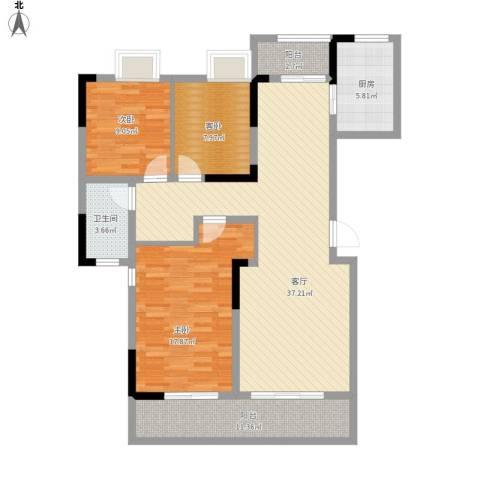 中信森林湖香樟林3室1厅1卫1厨107.88㎡户型图