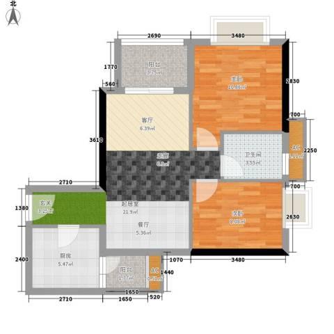 西门口广场2室0厅1卫1厨65.00㎡户型图
