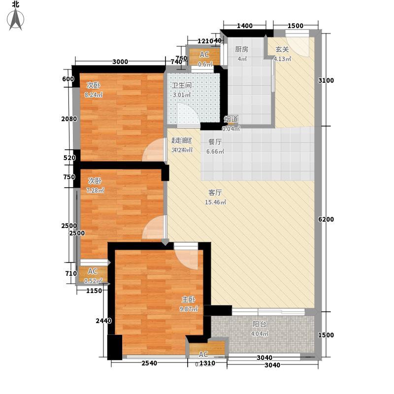中骏·四季阳光85.00㎡二期一组团A1-户型3室2厅