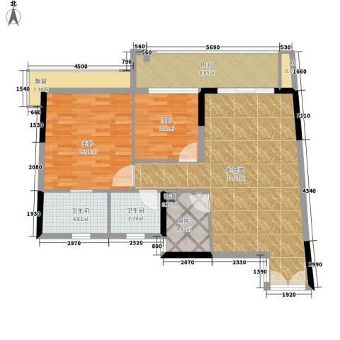天玺1号2室0厅2卫1厨95.00㎡户型图