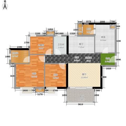 西门口广场3室0厅2卫1厨95.00㎡户型图