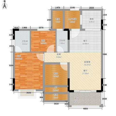 富城华府2室0厅2卫1厨105.00㎡户型图