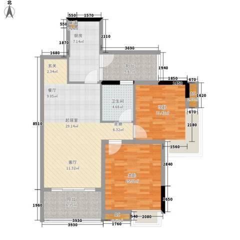 翡翠绿洲湖滨苑2室0厅1卫1厨93.00㎡户型图