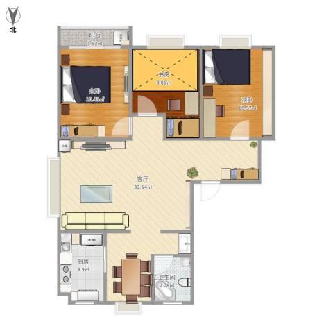 怡心苑3室1厅1卫1厨98.00㎡户型图