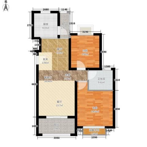 保利金爵公寓2室1厅1卫1厨83.00㎡户型图