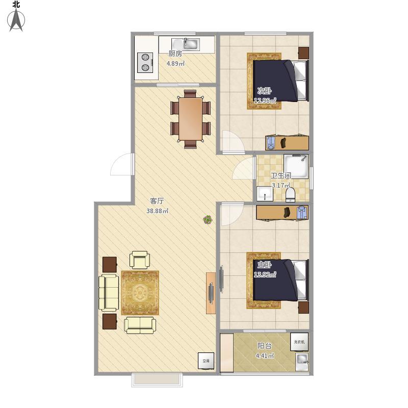 金陡印象96平两室两厅