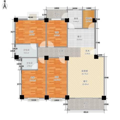 顺景蔷薇山庄4期4室0厅2卫1厨163.00㎡户型图