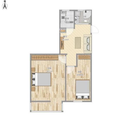 友谊社区2室1厅1卫1厨63.00㎡户型图