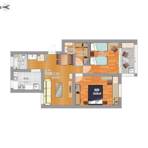 运光新村2室1厅1卫1厨90.00㎡户型图
