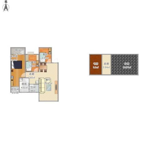 翠华豪苑3室1厅2卫1厨137.00㎡户型图