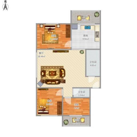 密西花园小区3室1厅2卫1厨108.00㎡户型图