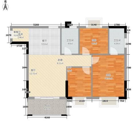 莲花湾畔3室1厅2卫0厨89.00㎡户型图
