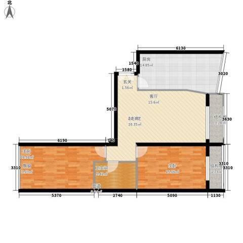 本家润园2室0厅1卫1厨117.00㎡户型图