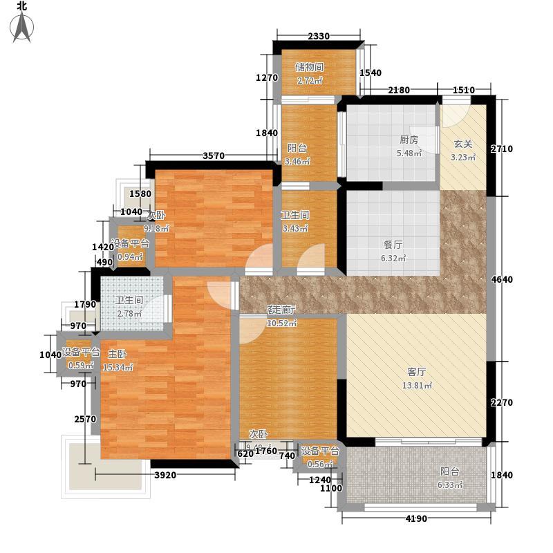 大川滨水城100.29㎡1期A4栋标准层6、7号户型