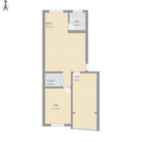 世家花园2室1厅1卫1厨113.00㎡户型图