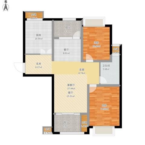 雅戈尔太阳城缘邑2室1厅1卫1厨134.00㎡户型图