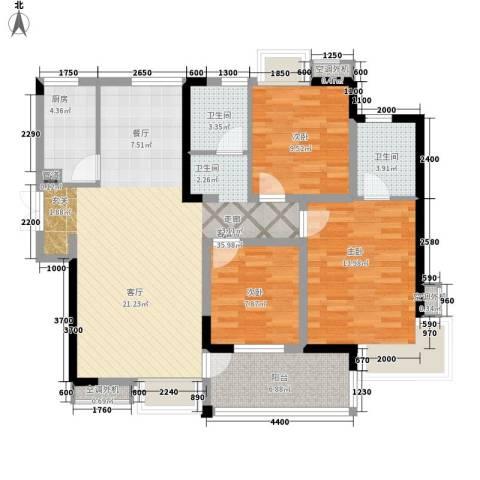 世纪城龙嘉苑3室1厅2卫1厨110.00㎡户型图