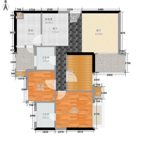 西门口广场3室0厅2卫1厨87.00㎡户型图
